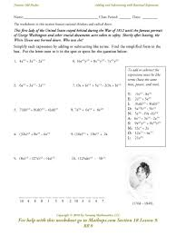 Simplifying Radicals Worksheet Algebra 1 Rr 9 Adding And Subtracting With Rational Exponents Mathops