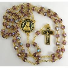 purple rosary gold jesus rosary purple