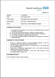 Complaints Letter To Hospital patient relations walsall healthcare nhs trust
