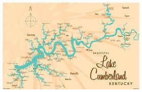 cumberland lake map lake cumberland ky map print