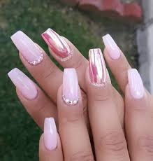 pink chrome accent nail with swarovski crystals start creating