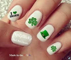 st patricks day u201d 3 leaf clover scroll love irish waterslide nail