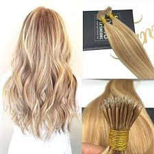 nano ring remy human hair extensions with color caramel