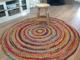 lovely hand loomed braided cotton jute multi colour round rug 1m