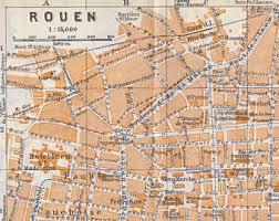 map of rouen vintage maps vintage prints vintage home decor by bananastrudel