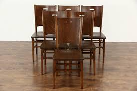 Mission Oak Dining Chairs Sold Set Of 6 Arts U0026 Crafts Mission Oak 1900 Antique Craftsman