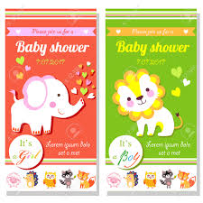 baby shower cards with cute lion and elephant it u0027s a and