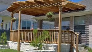 rectangular wooden gazebo with outdoor wicker chair for backyard