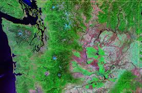 Wenatchee Washington Map by Washington Satellite Images Landsat Color Image