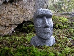 Cement Garden Decor Easter Island Head Moai Head Concrete Heads Garden Decor