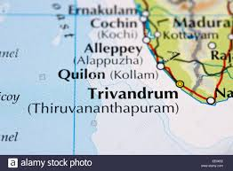 Kerala India Map by Close Up Of Atlas Map Of Kerala And Trivandrum In India Stock
