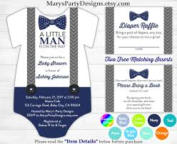 Gift Card Baby Shower Invitations Little Man Baby Shower Onesie Invitation Boy Baby Navy Blue Bow
