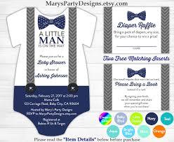 little man baby shower onesie invitation boy baby navy blue bow