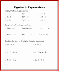 6th grade algebraic expressions worksheets kristal project edu