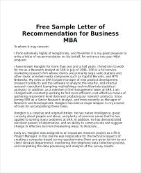 ideas collection sample recommendation letter for mba for letter