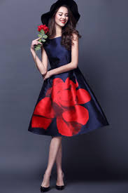 spring summer fashion casual navy blue rose rome print dress