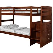 Bunk Bed With Steps Ranch Cappuccino Twin Over Twin Bunk Bed With Chest End Steps