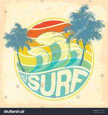 vintage surf car surfer vector setvintage surf elementslong beach stock vector