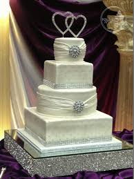 wedding cakes with bling and square shaped wedding cake with fondant shirring edible
