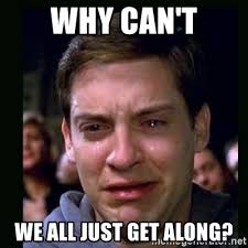 Can T We All Just Get Along Meme - why can t we all just get along crying peter parker meme