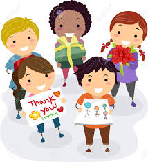 kids thank you cards illustration of kids presenting gifts flowers and thank you