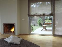 Fabric Blinds For Sliding Doors Soft Roman Shades On Sliding Glass Door Combining Nature And