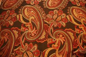 Drapery And Upholstery Fabric Paisley Brocade Heavy Chocolate Brown And Burnt Orange Floral