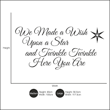 we made a wish upon a star nursery rhyme children u0027s bedroom wall