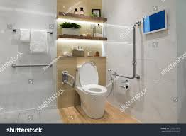 Toilet Handrail Interior Bathroom Disabled Elderly People Handrail Stock Photo