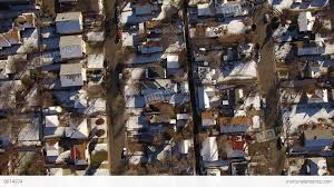 Winter Houses Aerial Drone Fly Directly Over Snow Covered Winter Houses To