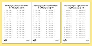 multiplying 4 digit numbers by multiples of 10 activity sheet