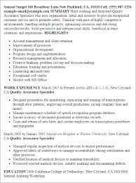 Maintenance Job Resume by Professional Quality Assurance Specialist Templates To Showcase