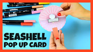 seashell pop up paper craft for kids with template youtube