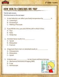 how health conscious are you u2013 6th grade science worksheets