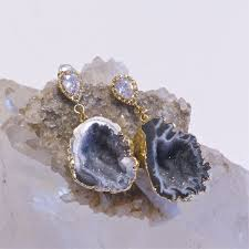 Geode Ring Box Handmade Raw Mineral Jewelry Geode Earrings By Pauletta Brooks
