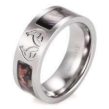 camouflage wedding rings shardon men s real tree carved antler camo ring titanium brown