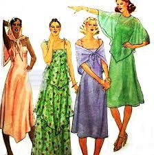 spaghetti strap slip dress w capelet scarf 1970s pattern boho