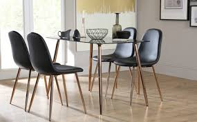 Horizon Black Glass Dining Table With  Brooklyn Chairs Copper - Copper kitchen table