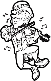 leprechaun playing music dancing and fiddling a violin for st