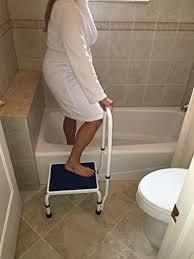 Toilet Handrail Adjustastep Tm Deluxe Step Stool Footstool With Handle Handrail