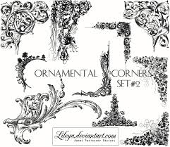 ornamental corners set 2 decorative photoshop brushes