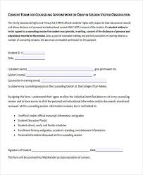 counseling consent form template personnel hr forms template