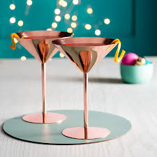 christmas martini copper rose cocktail glass by oh so cherished notonthehighstreet com