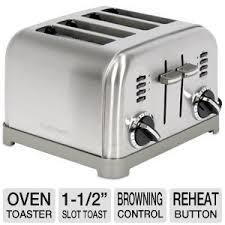 4 Slice Cuisinart Toaster Cuisinart Electronic 4 Slice Toaster 1 1 2 Slot Toast Control
