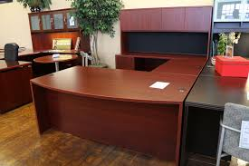 Executive Desk With Hutch Warren Series American Cherry New U Shaped Laminate Executive Desk