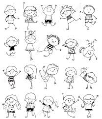 drawing sketch group of kids royalty free cliparts vectors and