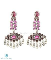 kempu earrings the varsha silver kempu earrings buy temple jewellery online ko