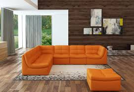 Orange Leather Sectional Sofa Attractive Orange Modern Sofa Divani Casa 207 Modern Orange Bonded