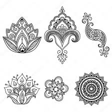 henna tattoo flower template mehndi set u2014 stock vector rugame