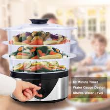 steamer cuisine 3 tier electric food steamer 8 quart stainless steel vegetable